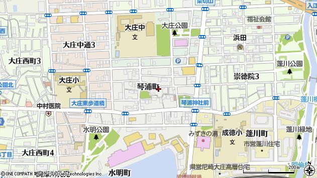 〒660-0074 兵庫県尼崎市琴浦町の地図