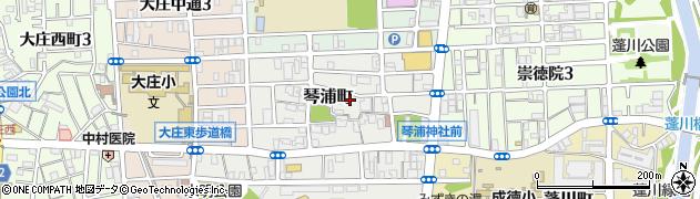 兵庫県尼崎市琴浦町周辺の地図