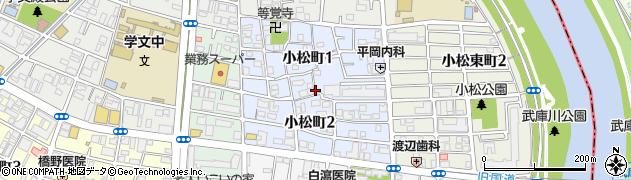 兵庫県西宮市小松町周辺の地図