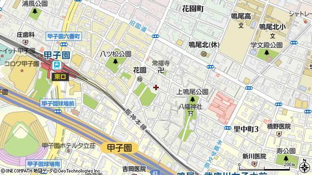 〒663-8186 兵庫県西宮市上鳴尾町の地図