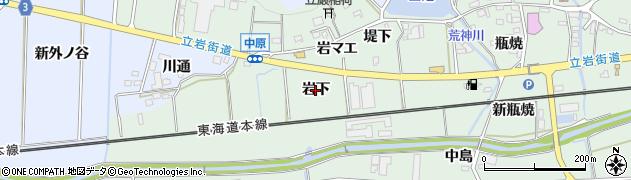 愛知県豊橋市中原町(岩下)周辺の地図