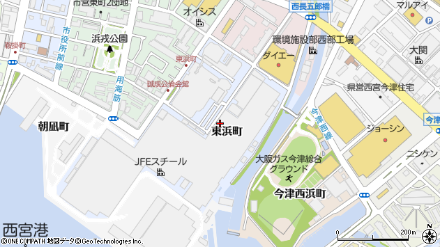 〒662-0924 兵庫県西宮市東浜町の地図