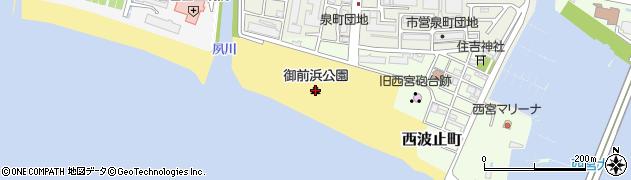 御前浜公園周辺の地図