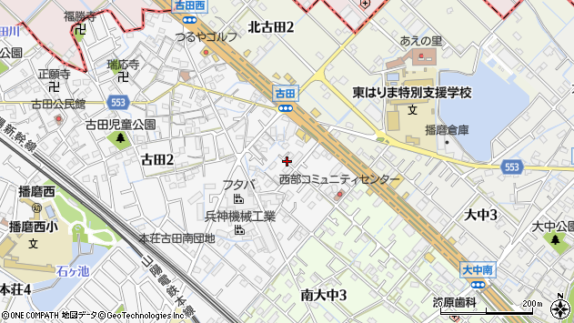 〒675-0146 兵庫県加古郡播磨町古田の地図