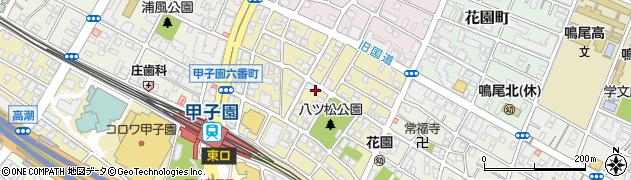 兵庫県西宮市甲子園六番町周辺の地図