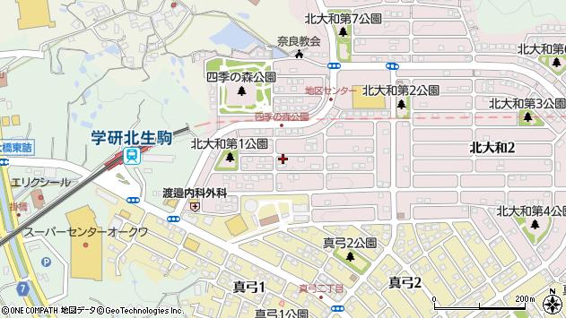 〒630-0121 奈良県生駒市北大和の地図
