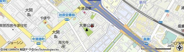 兵庫県西宮市今津大東町周辺の地図