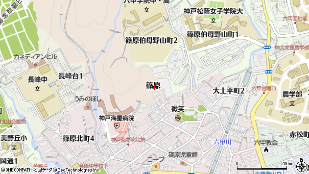 〒657-0002 兵庫県神戸市灘区篠原(その他)の地図