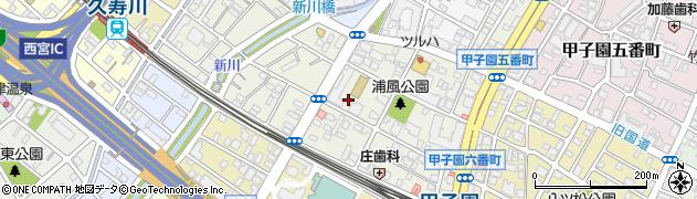 兵庫県西宮市甲子園浦風町周辺の地図