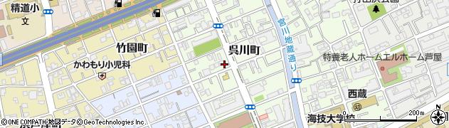兵庫県芦屋市呉川町周辺の地図