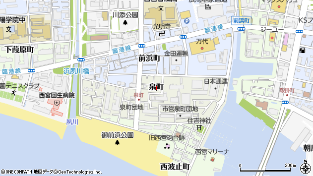 〒662-0932 兵庫県西宮市泉町の地図