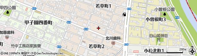 兵庫県西宮市若草町周辺の地図