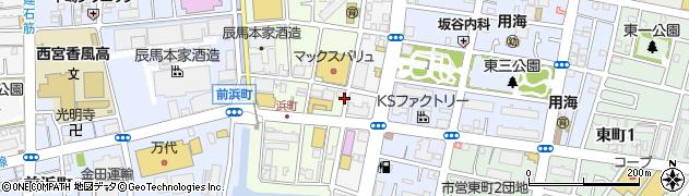 兵庫県西宮市浜町周辺の地図