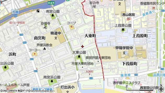〒659-0023 兵庫県芦屋市大東町の地図