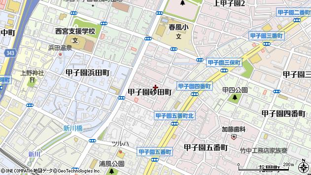〒663-8162 兵庫県西宮市甲子園砂田町の地図