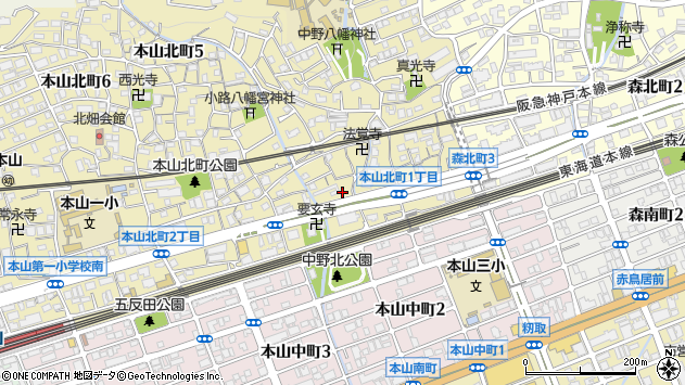 〒658-0003 兵庫県神戸市東灘区本山北町の地図