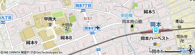 兵庫県神戸市東灘区岡本周辺の地図