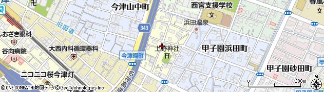 兵庫県西宮市今津上野町周辺の地図