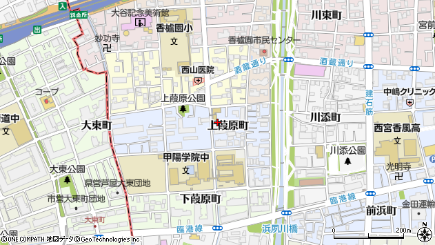 〒662-0954 兵庫県西宮市上葭原町の地図