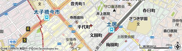 大阪府守口市平代町周辺の地図