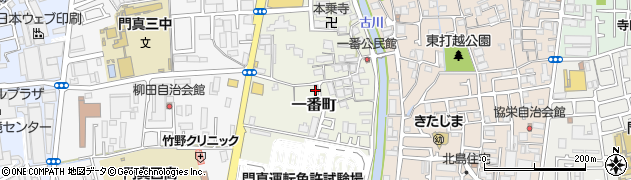 大阪府門真市一番町周辺の地図