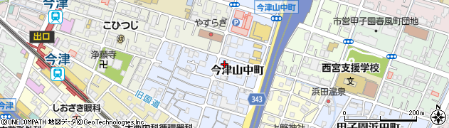 兵庫県西宮市今津山中町周辺の地図