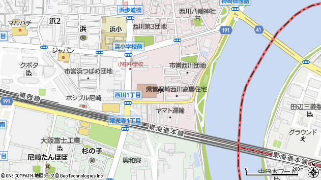 〒661-0966 兵庫県尼崎市西川の地図