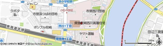 兵庫県尼崎市西川1丁目周辺の地図