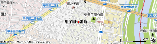 兵庫県西宮市甲子園一番町周辺の地図