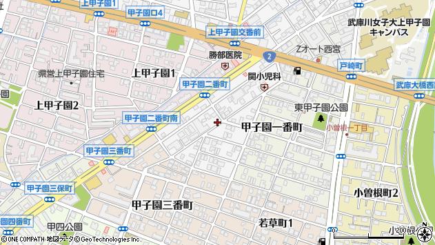〒663-8172 兵庫県西宮市甲子園二番町の地図