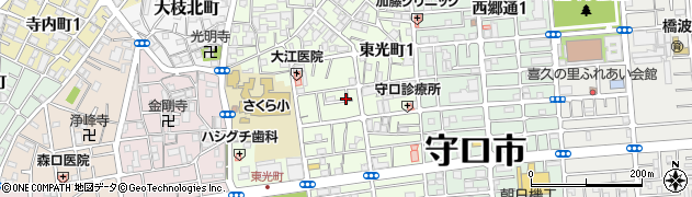 大阪府守口市東光町周辺の地図