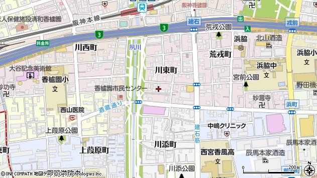 〒662-0945 兵庫県西宮市川東町の地図