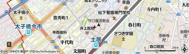 大阪府守口市土居町周辺の地図