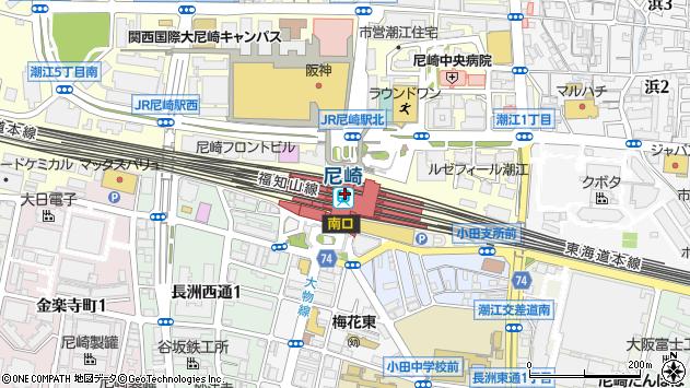 〒660-0808 兵庫県尼崎市潮江(1丁目1番、5丁目1番)の地図