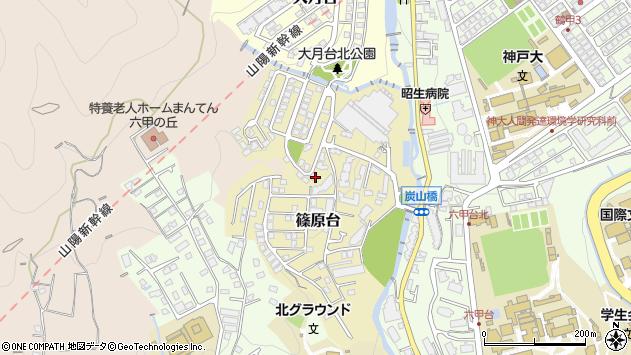 〒657-0016 兵庫県神戸市灘区篠原台の地図