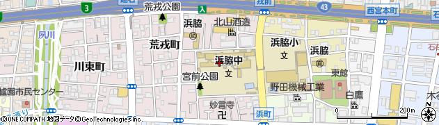 兵庫県西宮市宮前町周辺の地図
