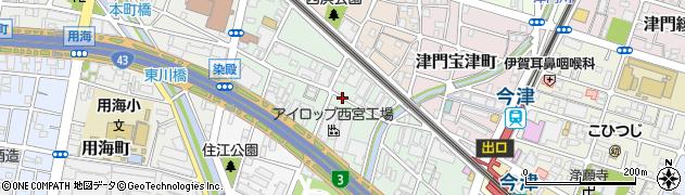 兵庫県西宮市津門川町周辺の地図