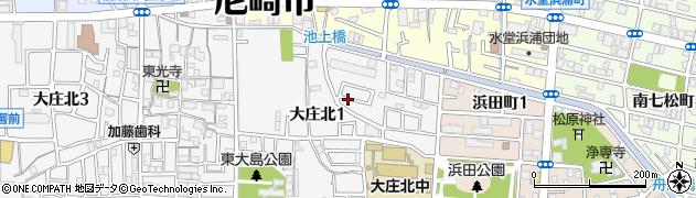 兵庫県尼崎市大庄北1丁目周辺の地図
