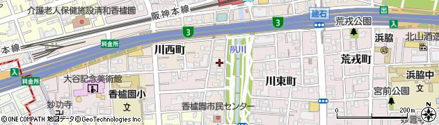 兵庫県西宮市川西町周辺の地図