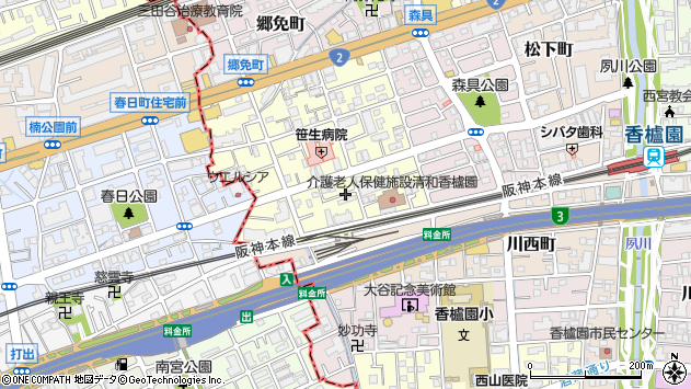 〒662-0964 兵庫県西宮市弓場町の地図
