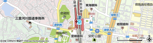 三重県津市周辺の地図