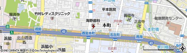 兵庫県西宮市本町周辺の地図