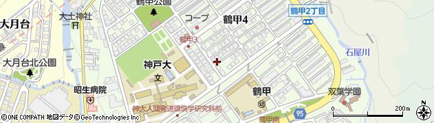 兵庫県神戸市灘区鶴甲周辺の地図