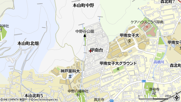 〒658-0002 兵庫県神戸市東灘区甲南台の地図