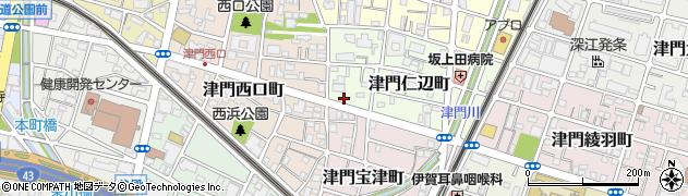 兵庫県西宮市津門仁辺町周辺の地図