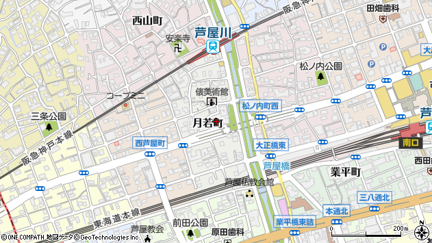 〒659-0084 兵庫県芦屋市月若町の地図