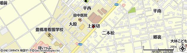 愛知県豊橋市中野町(上新切)周辺の地図