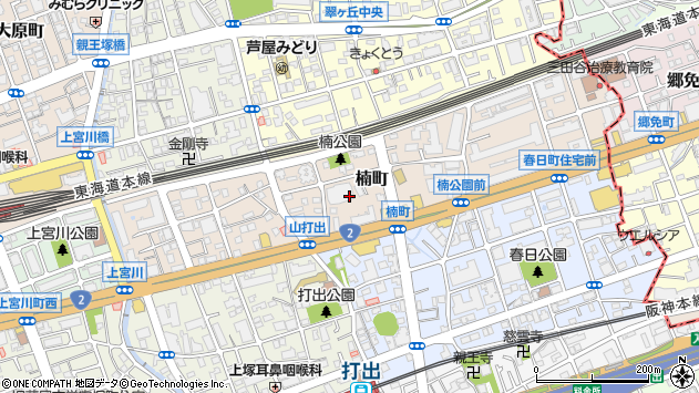 〒659-0015 兵庫県芦屋市楠町の地図