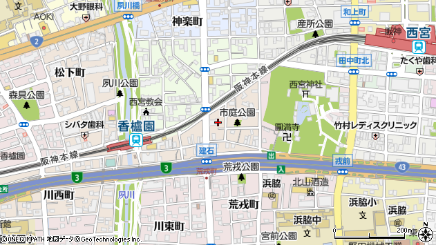 兵庫県西宮市市庭町 郵便番号 〒662-0975:マピオン郵便番号