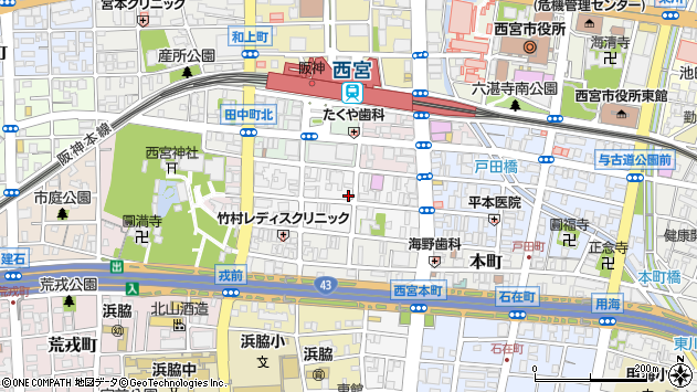 〒662-0915 兵庫県西宮市馬場町の地図